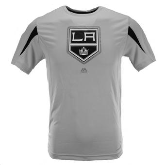 Los Angeles Kings Majestic Grey Chip Pass Performance Synthetic Tee Shirt (Adult L)