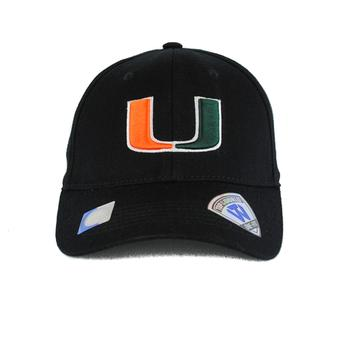 Miami Hurricanes Top Of The World Premium Collection Black One Fit Flex Hat (Adult One Size)