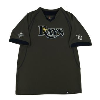 Tampa Bay Rays Majestic Gray Lead Hitter V-Neck Tee Shirt (Adult L)