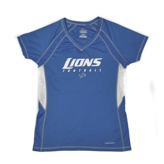 Detroit Lions Majestic Blue DL IV Performance V-Neck Tee Shirt (Womens XL)