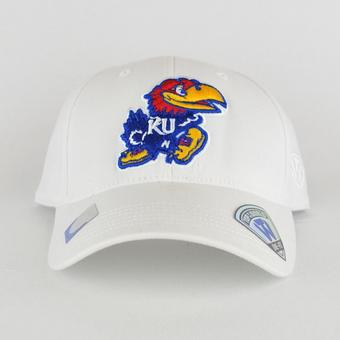 Kansas Jayhawks Top Of The World Premium Collection White One Fit Flex Hat (Adult One Size)