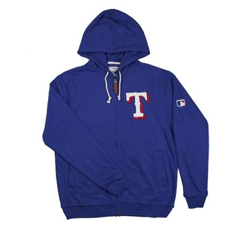 Texas Rangers Majestic Royal Blue Clubhouse Full Zip Fleece Hoodie (Adult XXL)