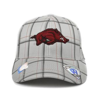 Arkansas Razorbacks Top Of The World Fuse Plaid Grey & Maroon One Fit Flex Hat (Adult One Size)