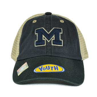 Michigan Wolverines Top Of The World Wishbone Navy Two Tone Adjustable Snapback Hat (Youth One Size)