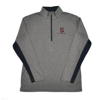 Syracuse Orange Colosseum Grey Stinger 1/4 Zip Performance Long Sleeve Tee Shirt (Adult L)