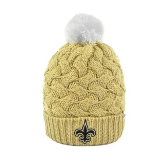 New Orleans Saints '47 Brand Light Gold Fiona Womens Cuff Knit w/Pom (Adult One Size)