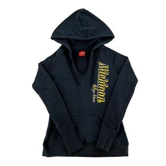 Michigan Wolverines Colosseum Navy V-Neck Raglan Fleece Hoodie (Womens S)