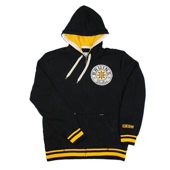 Boston Bruins CCM Reebok Black Vintage Full Zip Fleece Hoodie (Adult L)