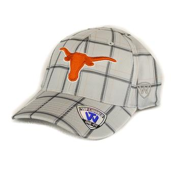 Texas Longhorns Top Of The World Fuse Plaid Grey & Orange One Fit Flex Hat (Adult One Size)