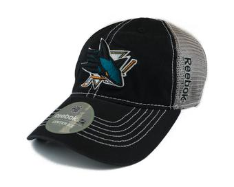 San Jose Sharks Reebok Black/Grey Cotton Cap Fitted Hat (Adult S/M)