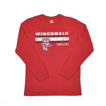 Wisconsin Badgers Colosseum Red Warrior Long Sleeve Tee Shirt (Adult M)