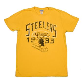 Pittsburgh Steelers Junk Food Yellow Kick Off Vintage Tee Shirt