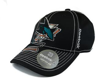 San Jose Sharks Reebok Black Draft Cap Fitted Hat