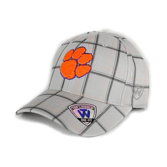 Clemson Tigers Top Of The World Fuse Plaid Grey & Orange One Fit Flex Hat (Adult One Size)