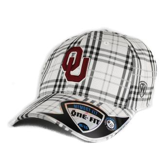 Oklahoma Sooners Top Of The World Flux Plaid Grey & White One Fit Flex Hat (Adult One Size)