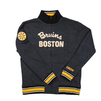 Boston Bruins Reebok CCM Heather Grey Fleece Track Jacket (Adult M)