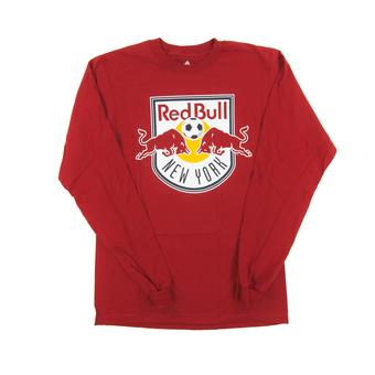 New York Red Bulls Adidas Shield Logo Red L/S Tee Shirt (Adult M)
