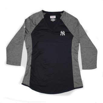 New York Yankees Majestic Navy Featherweight 3/4 Sleeve Performance Tee Shirt (Womens XL)