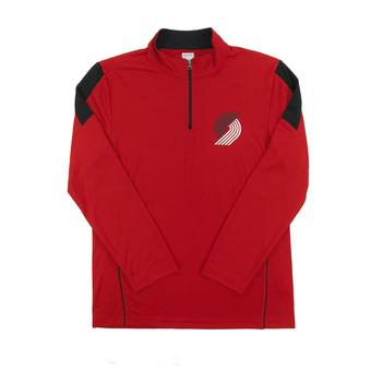 Portland Trail Blazers Majestic Red Status Inquiry Performance 1/4 Zip Long Sleeve (Adult L)