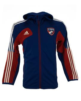 FC Dallas Adidas Blue Warm Up Performance Full Zip Hoodie (Adult M)