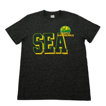 Seattle Supersonics Majestic Grey Hardwood Classics Performance Tee Shirt (Adult M)