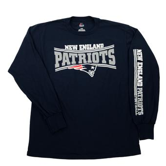 New England Patriots Majestic Navy Primary Receiver Long Sleeve Tee Shirt (Adult M)