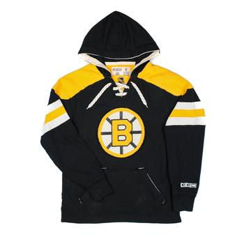 Boston Bruins CCM Reebok Black Lace Up Fleece Jersey Hoodie (Adult S)