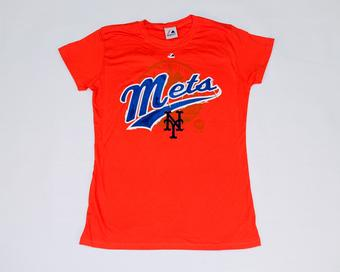 New York Mets Majestic Orange Hype-Tastic Tee Shirt (Womens L)