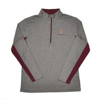 Arizona State Sun Devils Colosseum Grey Stinger 1/4 Zip Performance Long Sleeve Tee Shirt