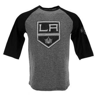 Los Angeles Kings Majestic Grey Stick to Stick 3/4 Sleeve Raglan Tee Shirt (Adult S)