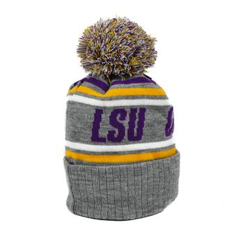 LSU Tigers Top Of The World Gray Stryker Cuffed Pom Knit Hat (Adult One Size)