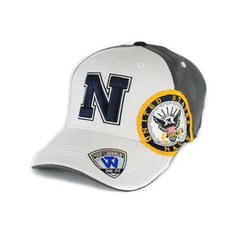 Navy Midshipmen Top Of The World Premium Collection Two Tone White & Grey One Fit Flex Hat (Adult One Size)