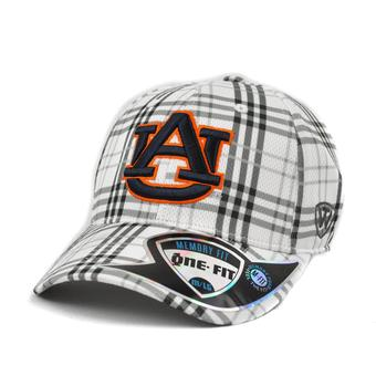 Auburn Tigers Top Of The World Flux Plaid Grey & White One Fit Flex Hat (Adult One Size)