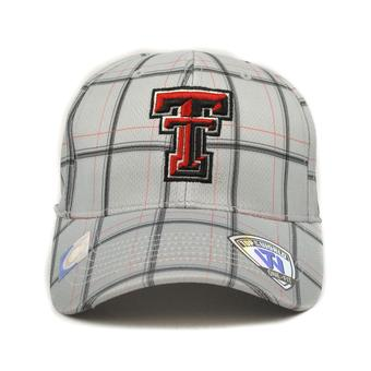 Texas Tech Red Raiders Top Of The World Fuse Plaid Grey & Red One Fit Flex Hat (Adult One Size)