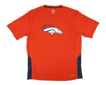 Denver Broncos Majestic Orange Swift Pass Cool Base Performance Tee Shirt (Adult M)