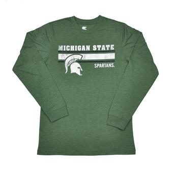 Michigan State Spartans Colosseum Green Warrior Long Sleeve Tee Shirt (Adult L)