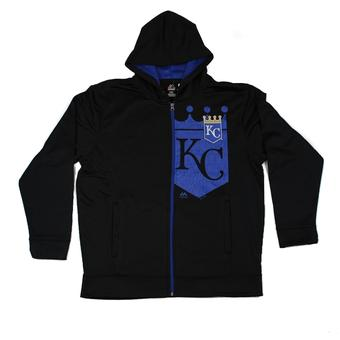 Kansas City Royals Majestic Black Bring It Home Full Zip Fleece Hoodie (Adult XL)