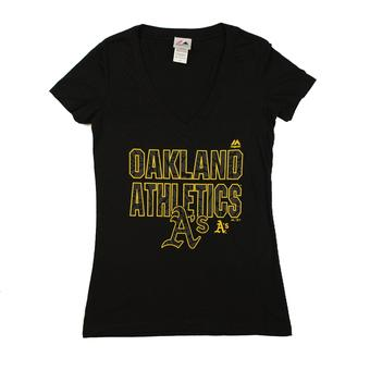 Oakland Athletics Majestic Black The Real Thing V-Neck Tee Shirt (Womens S)