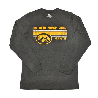 Iowa Hawkeyes Colosseum Grey Warrior Long Sleeve Tee Shirt (Adult L)