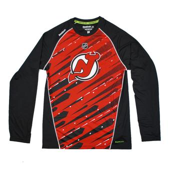 New Jersey Devils Reebok Red Center Ice Performance Long Sleeve Tee Shirt (Adult M)