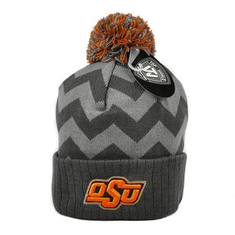 Oklahoma State Cowboys Top Of The World Gray Chevron Cuffed Pom Knit Hat (Adult One Size)