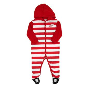 Detroit Red Wings Old Time Hockey Tic Tac Red & White Infant Sleeper Hoodie (Infant 24M)