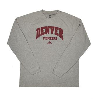 Denver Pioneers Adidas Grey Climalite Performance Long Sleeve Tee Shirt (Adult M)