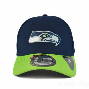 Seattle Seahawks New Era Blue Draft Day 39Thirty Flex Fit Hat (Adult L/XL)