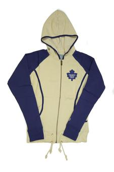 Toronto Maple Leafs Old Time Hockey Cream & Blue Mel Full Zip Fleece Hoodie (Womens L)