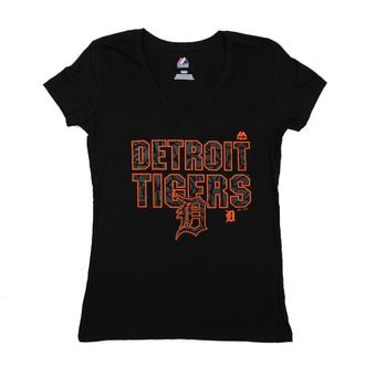 Detroit Tigers Majestic Black The Real Thing V-Neck Tee Shirt (Womens S)