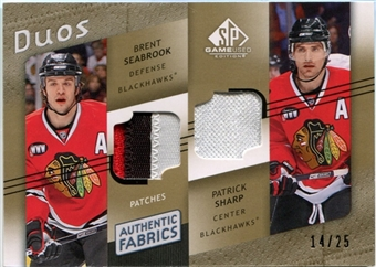 2008/09 Upper Deck SP Game Used Authentic Fabrics Duos Patches #AF2PS Patrick Sharp Brent Seabrook 14/25