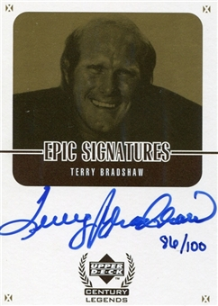 1999 Upper Deck Century Legends Epic Signatures Century Gold #TBC Terry Bradshaw 86/100