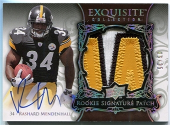 2008 Exquisite Collection Silver Holofoil #171 Rashard Mendenhall Patch Auto /25