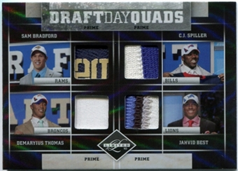 2010 Limited Draft Day Quads Prime #3 Sam Bradford C.J. Spiller Demaryius Thomas Jahvid Best 3/4 Patch